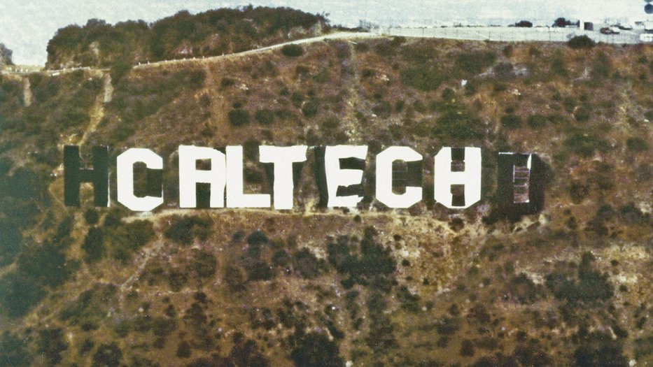 The Hollywood sign covered to read Caltech