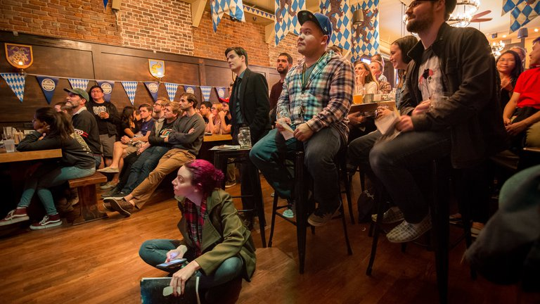 An enthusiastic audience for this month's Astronomy on Tap night.