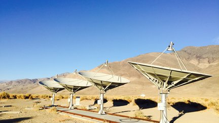 Several radio telescopes in the desert