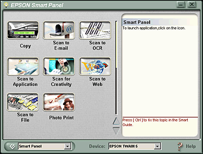 Control panel menu of scanner