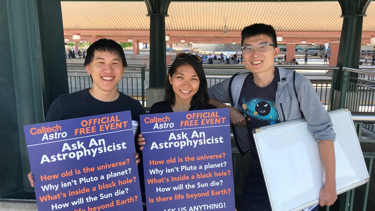 Members of Caltech Astronomy spending a weekend afternoon engaging with the public on the LA Metro as part of Science Train.