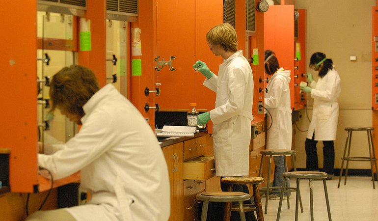 students in orange lab