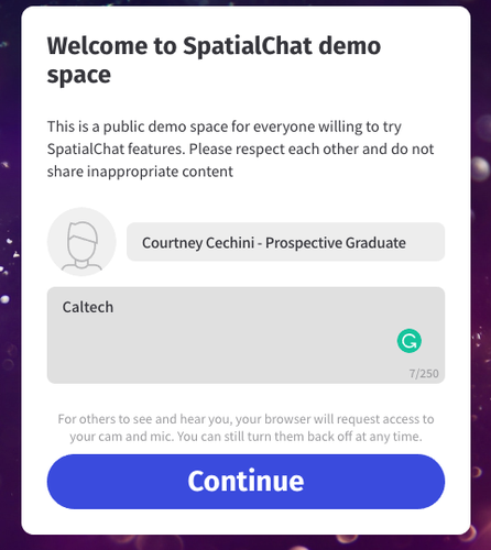 Screenshot of Spatial Chat interface