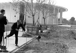 BAXTER HALL GROUNDBREAKING (HALLETT SMITH WITH SHOVEL), 1969