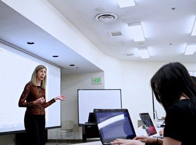 Jean Ensminger teaching undergrads