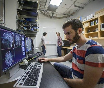 man at computer in CBIC lab