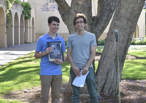Ethan Mann (2019 Winner) with Undergraduate Option Representative Jason Alicea