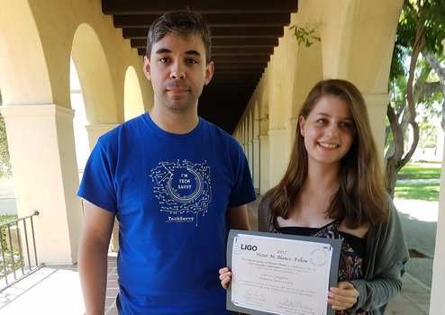 LIGO Research Associate Dr. Alex Urban and 2017 Blanco Fellow Cierra Coughlin