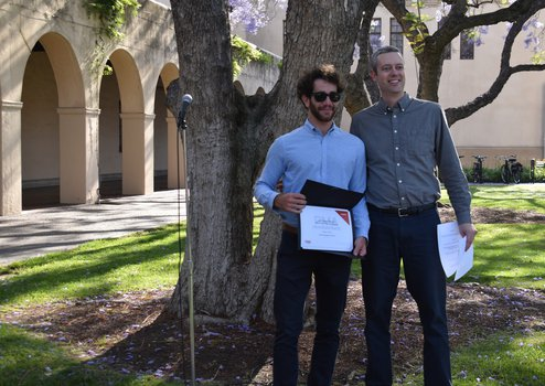Olmo Cerri, 2019 Stemple prize winner with physics option rep Ryan Patterson