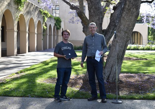 Chris Bochenek, 2019 Garmire Scholar, with Ryan Patterson, physics Option Rep