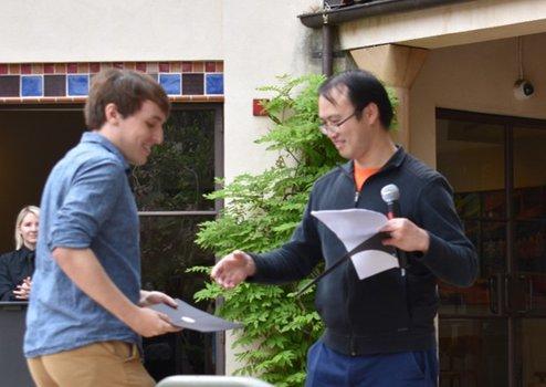 Felix Weilacher (2019 Winner) with Graduate Option Representative Yi Ni