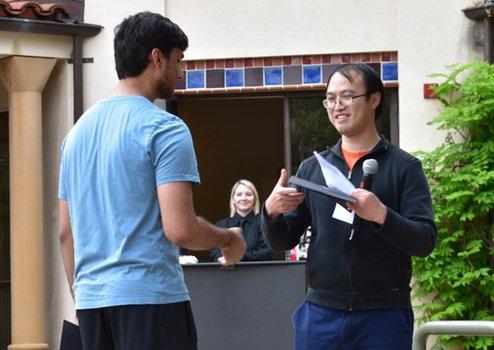 Mayank Pandey (2019 Winner) with Graduate Option Representative Yi Ni
