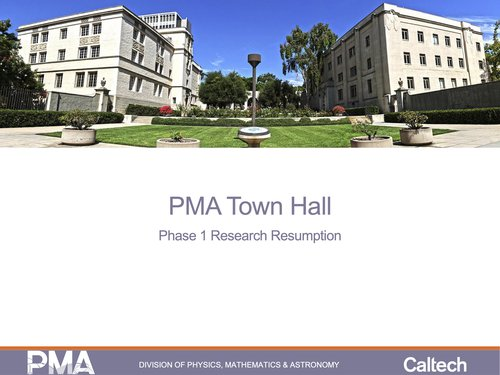 slide showing pma town hall