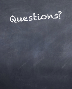 "blackboard with ""questions?"" written"