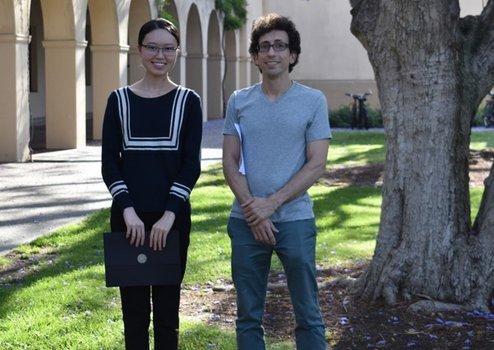 Tina Zhang (2019 Winner) with Undergraduate Option Representative Jason Alicea