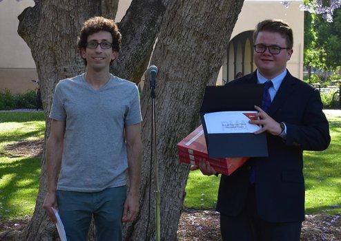 Walker Melton (2019 Winner) with Undergraduate Option Representative Jason Alicea