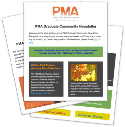 screenshot of grad student newsletters