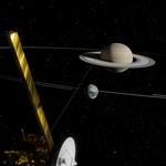 Artwork of Saturn, Titan, and the Cassini spacecraft.