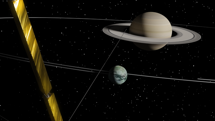 Artwork of Saturn, Titan, and the Cassini spacecraft.