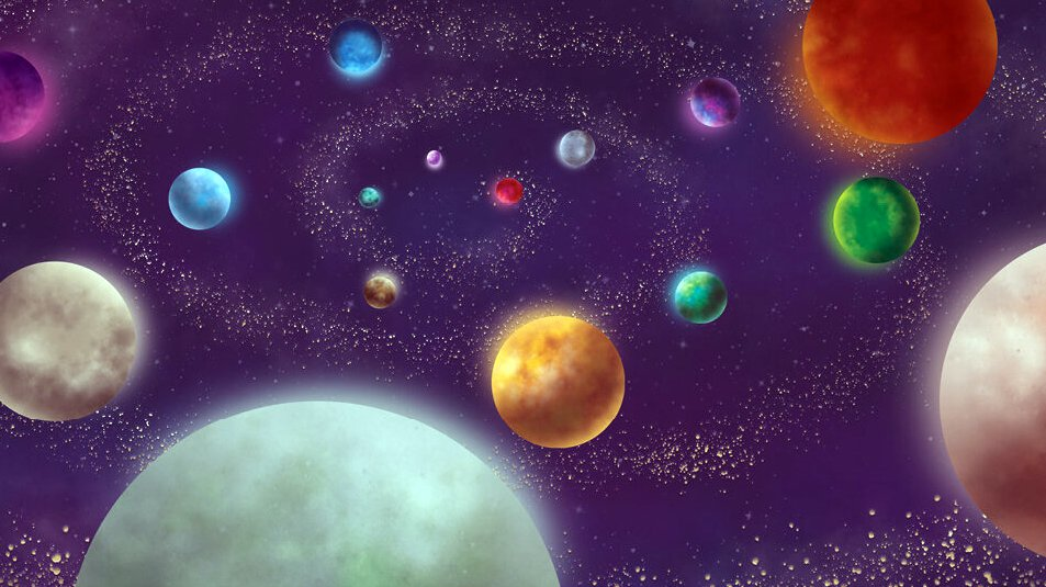 graphic illustration of a cluster of colorful planets