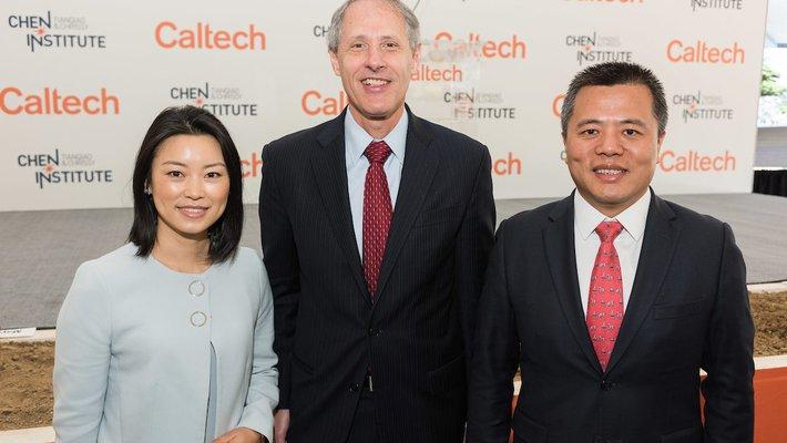 Chrissy Luo, Caltech President Thomas F. Rosenbaum, and Tianqiao Chen