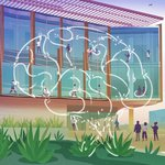 cover art from issue 12 of The Caltech Effect, an illustration of the new Chen building on campus