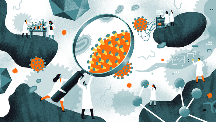 illustration of scientists researching the novel coronavirus