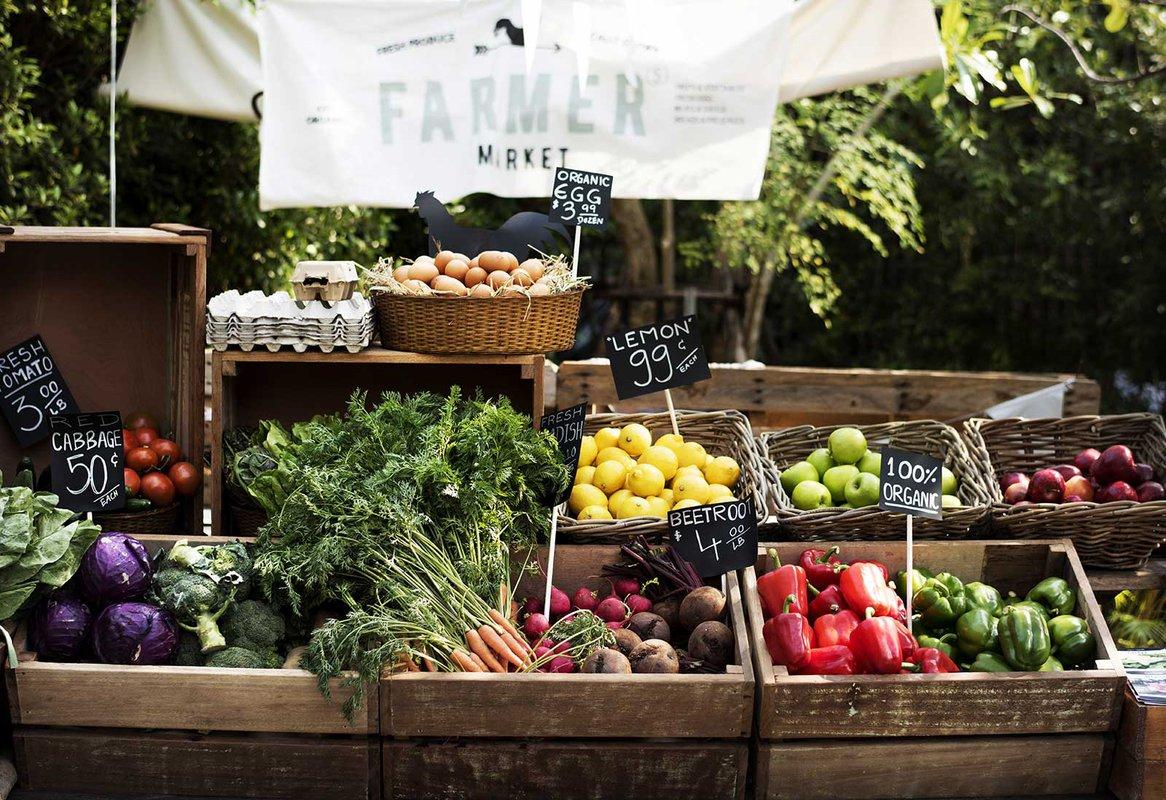 Stock photo of farmers' market.