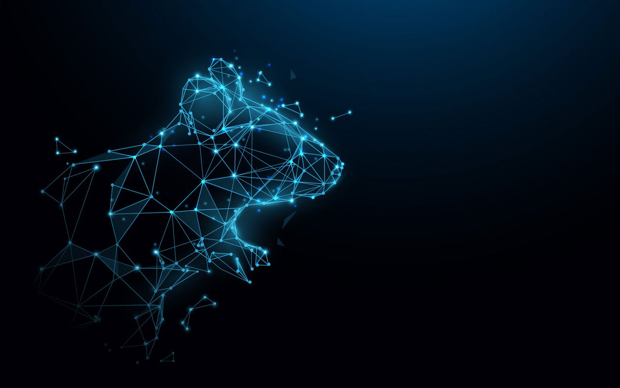 An artist's abstract rendition of a mouse made from glowing nodes with connections between them