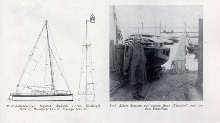 A drawing of Albert Einstein's cherished boat Tümmler, next to a photo of Einstein with the boat.