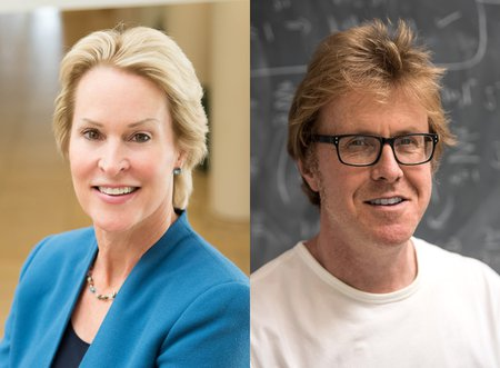 A side-by-side portrait of Frances Arnold and Andrew Stuart.