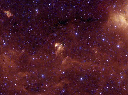 Location of young outbursting star