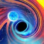 Artwork of a neutron star–black hole merger
