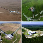 Photos of KAGRA, LIGO, and Virgo.
