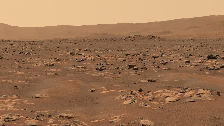 The rocky surface of Mars