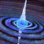 Artwork of a massive star about to explode, after being hit by a black hole or neutron star.