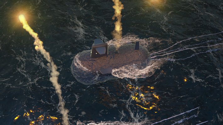 An artist's interpretation of microscopic gas vesicles as submarines on a dark ocean, sending flares up into the sky.