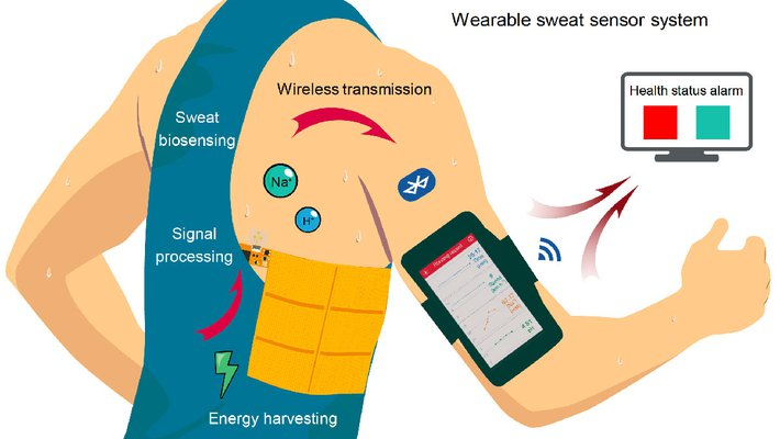 An artist's rendering of how the system works. The generator creates electricity for the sweat sensor, which transmits data wirelessly to a cell phone.