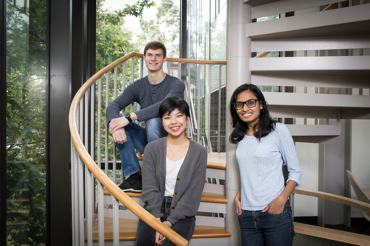 Students Andrew Hess, Myra Cheng, and Nivetha Karthikeyan, founders of the TechReach club, sit in the Annenberg Center for Information Science and Technology.