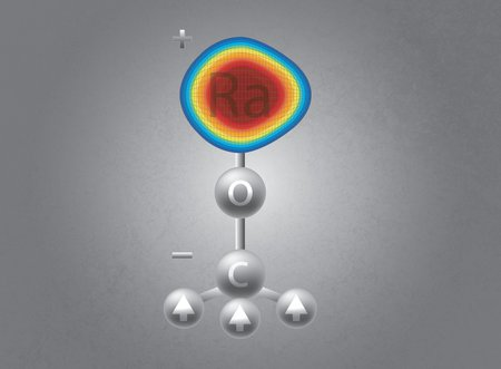 An artistic representation of the structure of the radium monomethoxide ion, or RaOCH3+, used in the new study.
