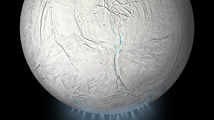 An illustration of Enceladus, depicting the icy plume of particles.