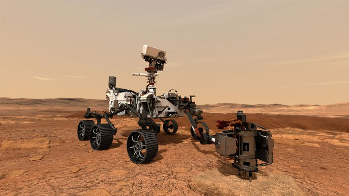 An artist's rendering of a rover drilling into a rock on the surface of Mars.