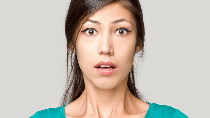 stock image of a fearful face