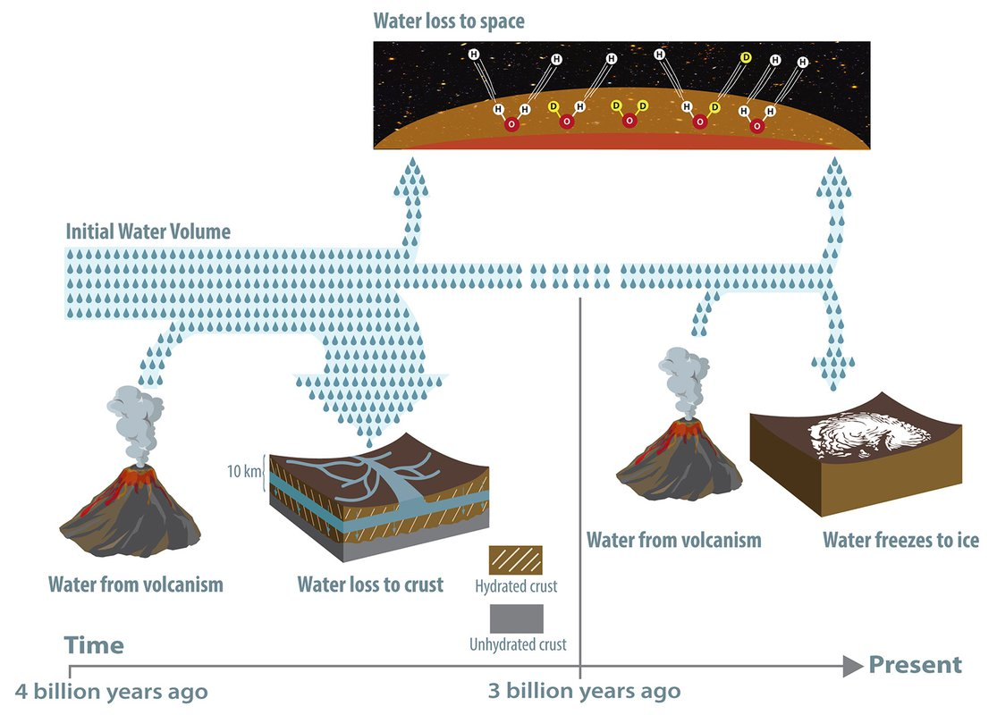 A flow chart depicting the fate of water on Mars