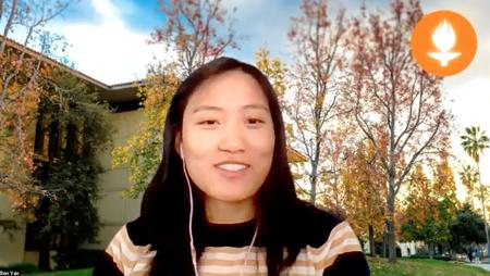 Ellen Yan in Zoom meeting with campus background