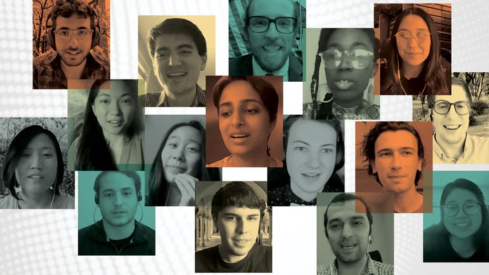 A collage of student award winner portraits