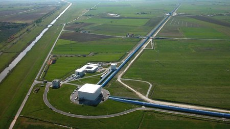 aerial photo of the Virgo Observatory
