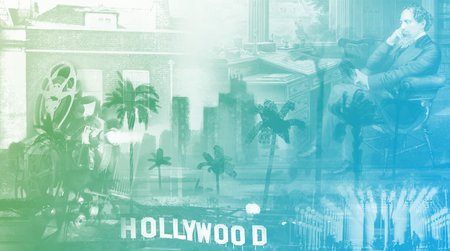 collage of old hollywood, Charles Dickens' London, and art in Los Angeles imagery.