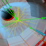 An artist's depiction of a boson-producing event. Colored streaks emanate from within a cylinder.