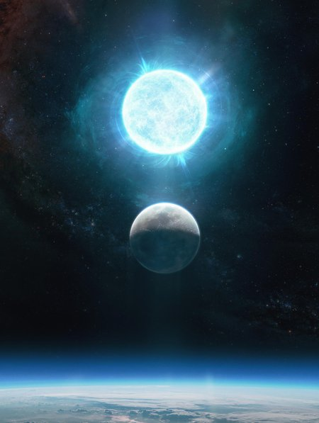 Illustration of the white dwarf in comparison to Earth's moon .